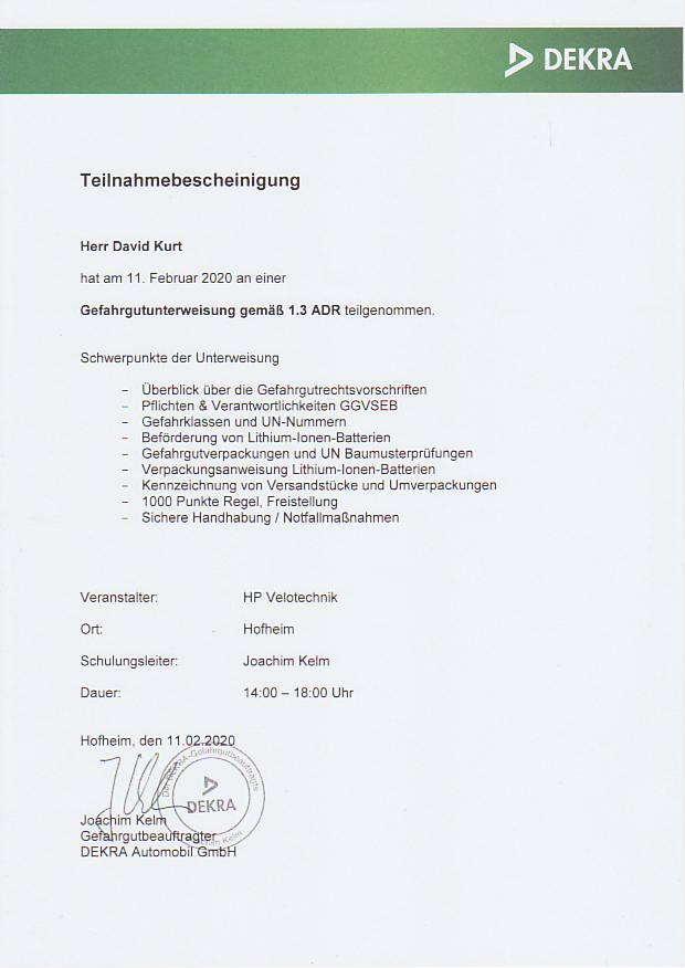 Zertifikat der DEKRA