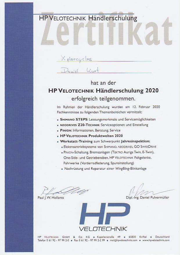 HP VELOTECHNIK Zertifikat für die Händlerschulung